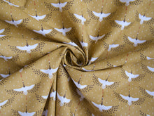 Load image into Gallery viewer, Cranes Printed Cotton in Mustard £12 p/m