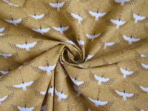 Cranes Printed Cotton in Mustard £12 p/m