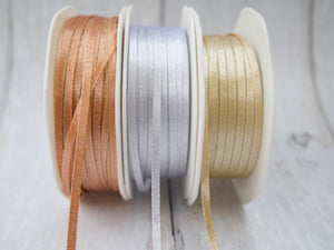 3mm Double Satin Ribbon - Metallic