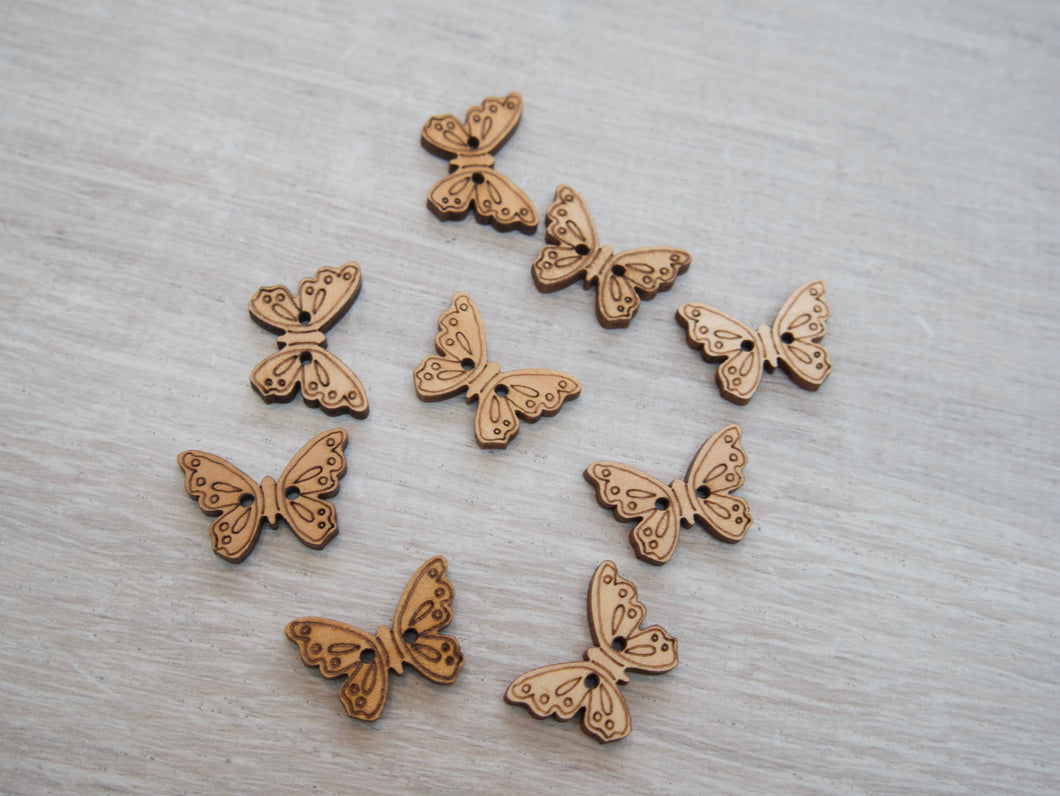 2-Hole Wooden Butterfly Buttons
