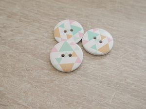 2-Hole Painted Button - Geometric