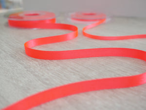 10mm Double Satin Ribbon - Fluro Coral