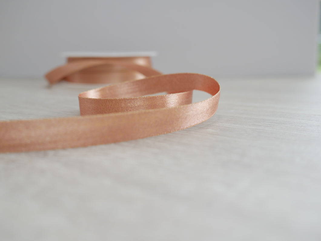 10mm Double Satin Ribbon - Rose Gold