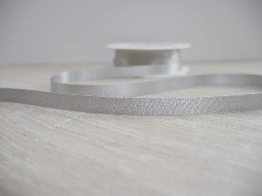 10mm Double Satin Ribbon - Silver