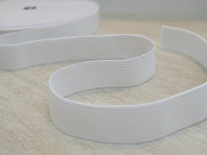 25mm Waistband Elastic, White