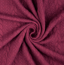 Load image into Gallery viewer, Heathered Cable Jacquard Knit Fabric, Claret, £15.00 p/m