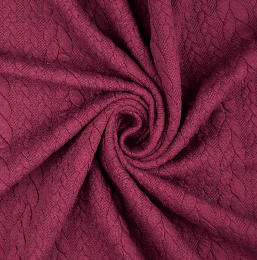 Heathered Cable Jacquard Knit Fabric, Claret, £15.00 p/m