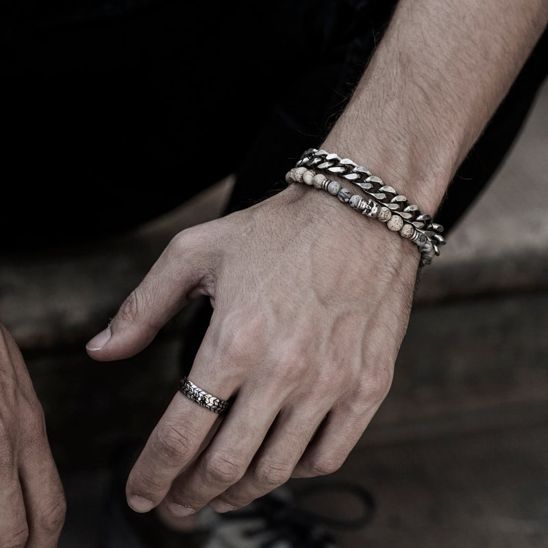 SAAR | Stainless steel & Beads bracelet set for men