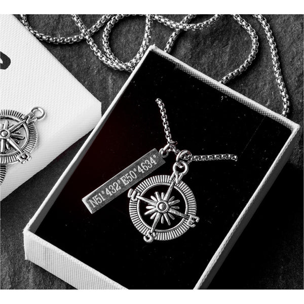 Ryder Stainless Steel Box Chain with Compass Pendant Men's Necklace