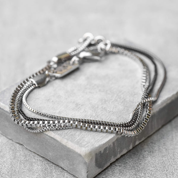 GIO Stainless Steel layered chains bracelet