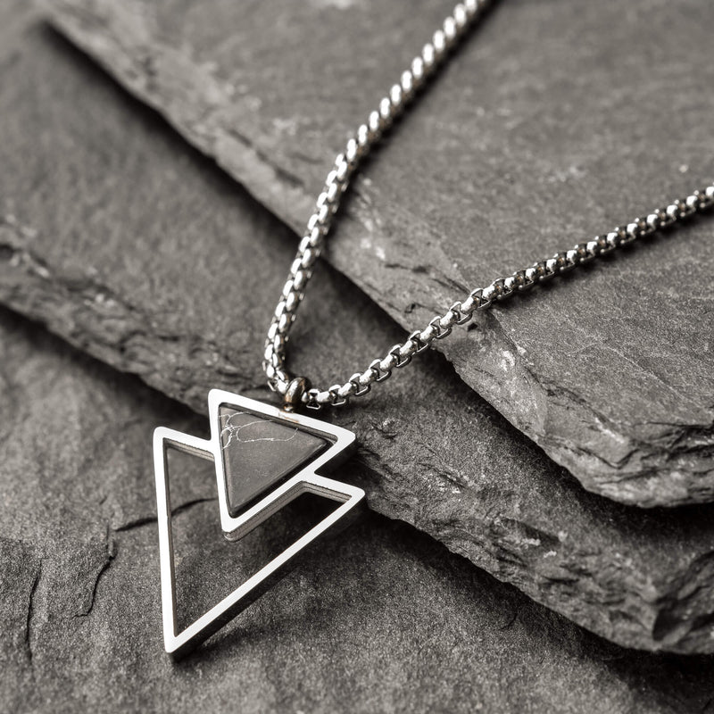 Pedro Stainless Steel Box Chain with Double triangle Onyx Pendant