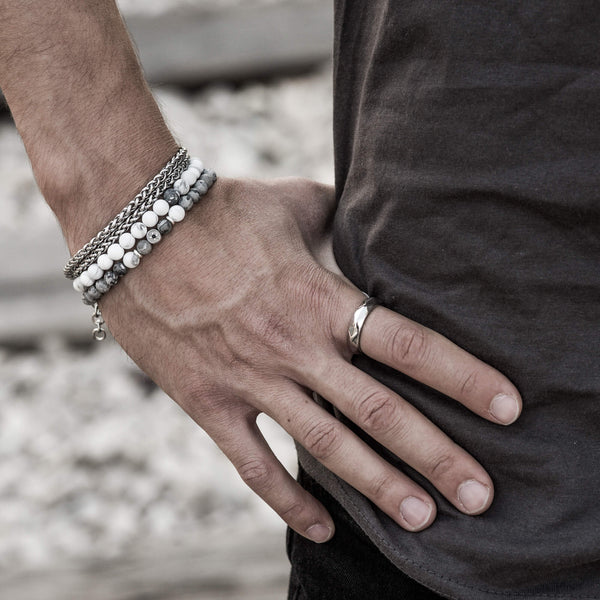 SAAR | Stainless steel and beads bracelet set for men