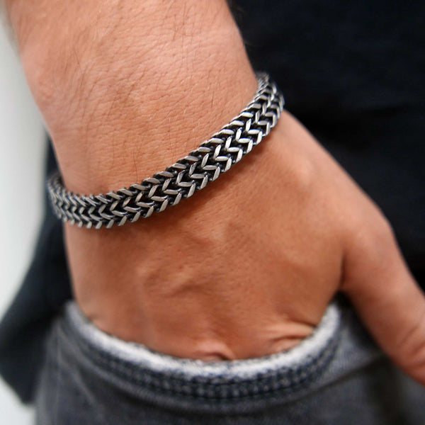 SAAR Hank Double Foxtail Stainless Steel Men's Bracelet Silver