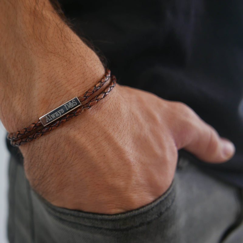 Philip Leather Woven Bracelet Saar Co Tan
