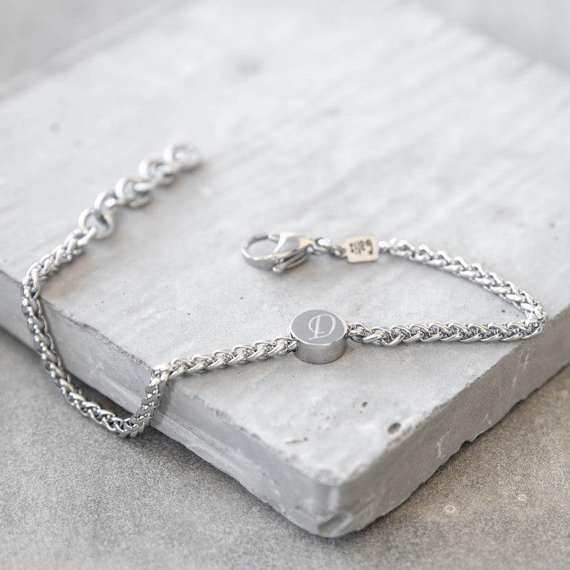 Max Stainless Steel Wheat Chain Bracelet with Round Plate
