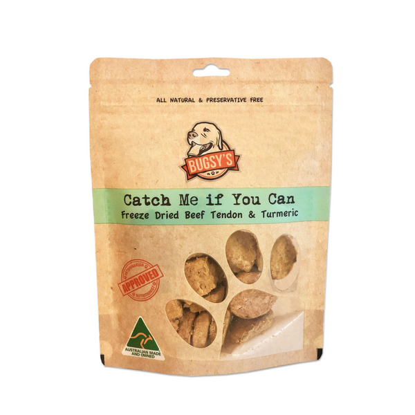 Bugsy's Catch Me If You Can - Beef Tendon with Turmeric Dog Treats | Treats | Bugsy's - Shop The Paws