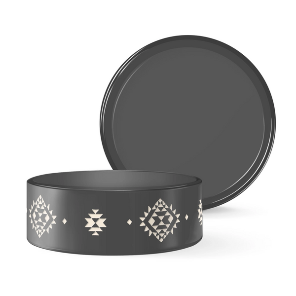 Fringe Studio Tribal Charcoal Ceramic Food Water Bowl - Accessories - Fringe Studio - Shop The Paws