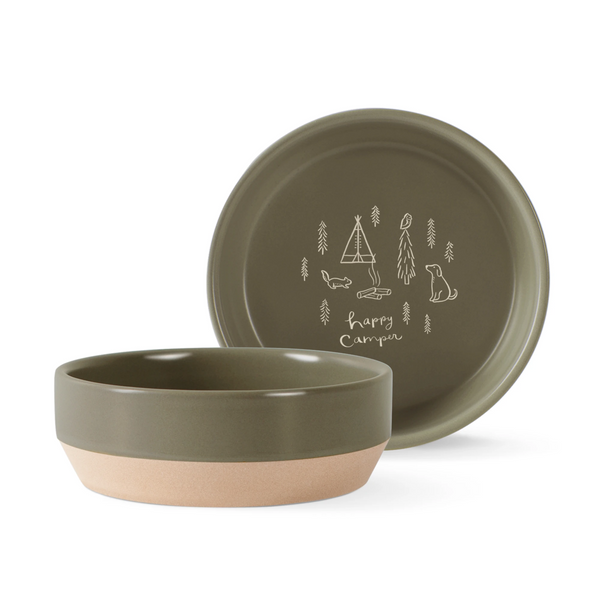 Fringe Studio Happy Camper Stonewear Food Water Bowl - Accessories - Fringe Studio - Shop The Paws
