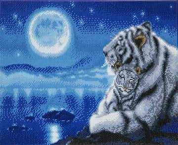 Timanttityö Lullaby White Tigers, 50x40cm