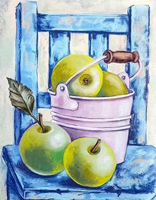 Timanttityö Still Life with Green Apples, 40x50cm