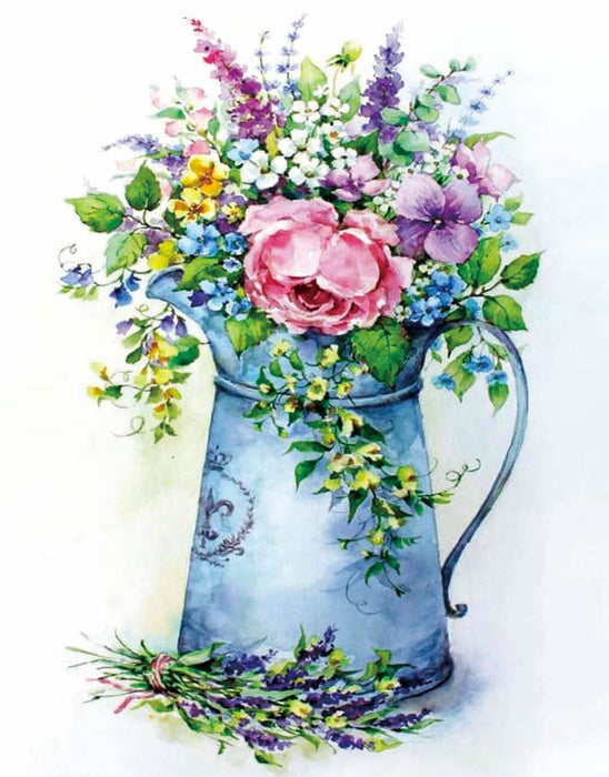 Timanttityö Romantic bouquet in a watering can, 40x50cm