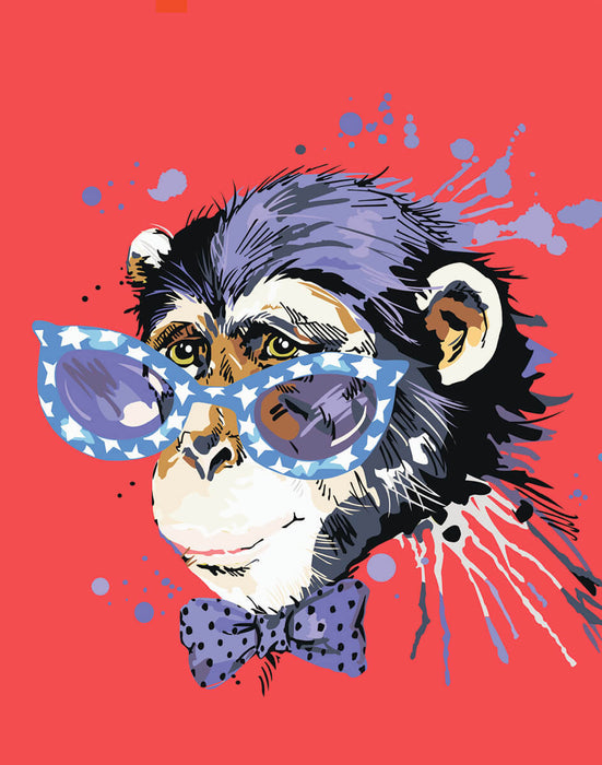 Timanttityö Stylish Monkey, 40x50cm