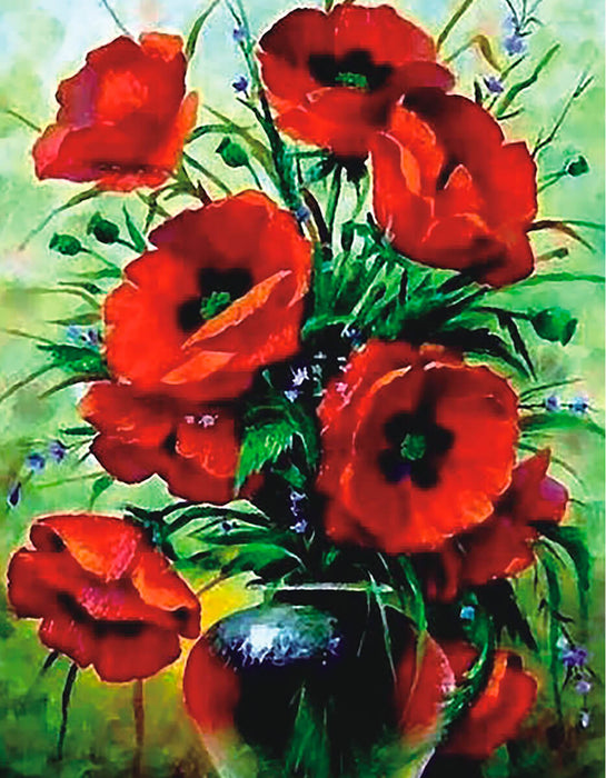 Timanttityö Poppies Bouquet, 40x50cm