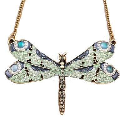 Victorian Green Dragonfly Necklace - RubyVanilla