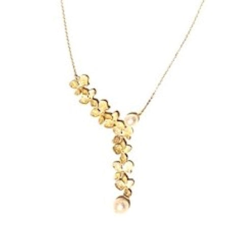 Flower Necklace with Pearls, Sterling Silver with 14k Gold Plating - RubyVanilla