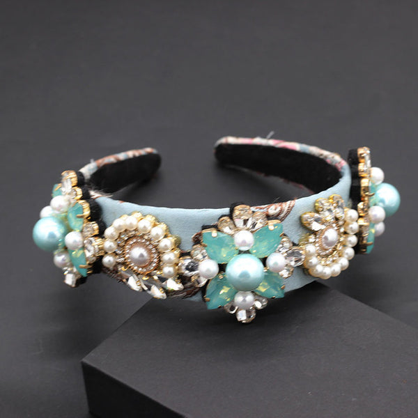 Turquoise and Pearl Baroque Headband - RubyVanilla
