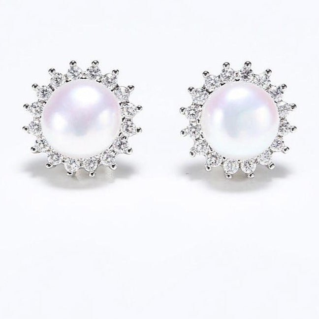Pearl Sun Earrings with CZ - RubyVanilla