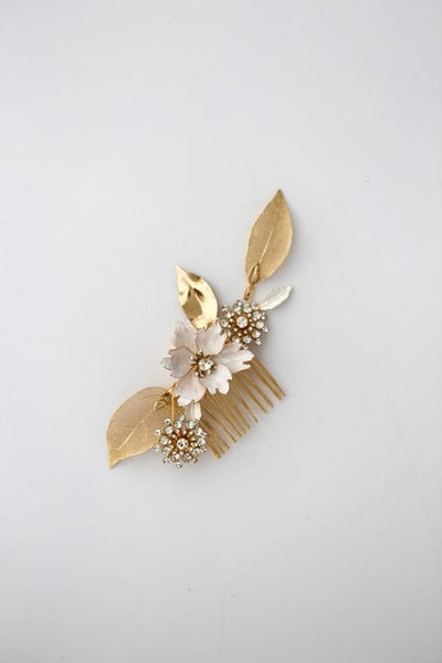 Rhinestones Enamel Flowers with gold Leaves Hair Accessories - RubyVanilla