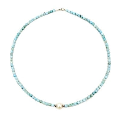 Blue Larimar and Freshwater Pearl Necklace with Sterling Silver clasp - RubyVanilla