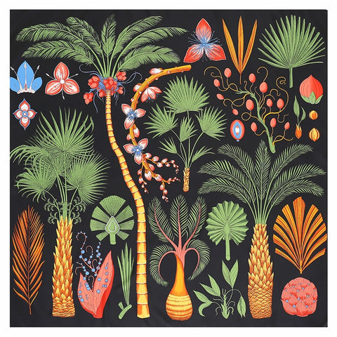 Tropical Silk Scarf - Black - RubyVanilla