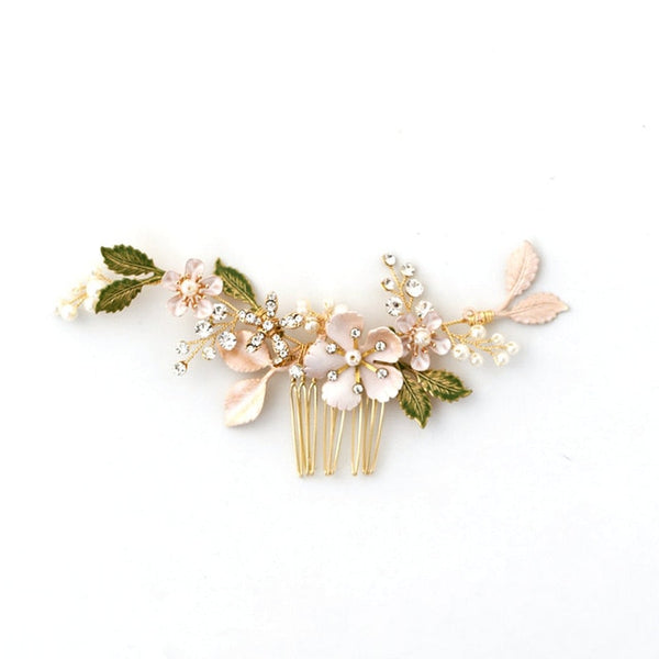 Enamel Flower with Green Leaves Hair Accessories - RubyVanilla