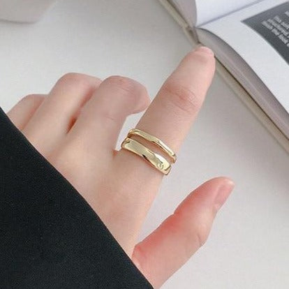 Adjustable Double Layer Wave Sterling Silver Ring - RubyVanilla