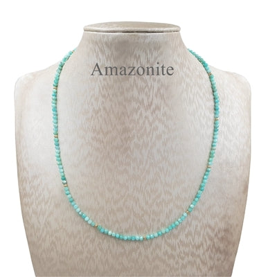 Amazonite Necklace with Sterling Silver plated in 18k Gold, available in 4 lengths - RubyVanilla
