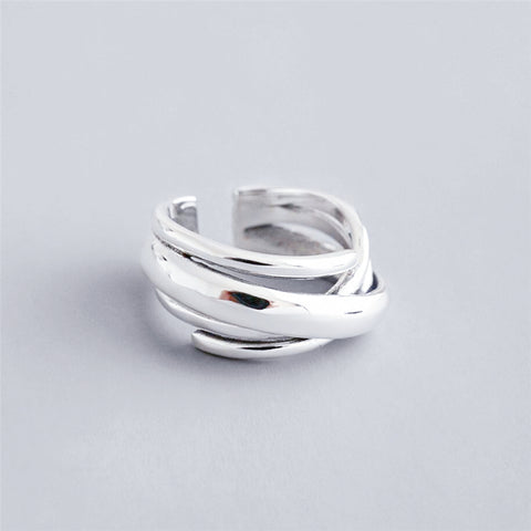 Adjustable Multi-layer Winding Sterling Silver Ring - RubyVanilla