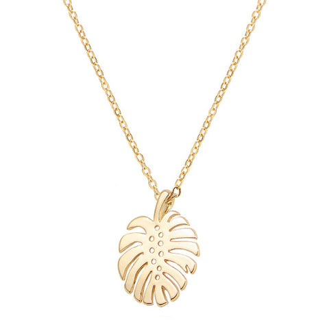 Tropical Palm Leaf Necklace - RubyVanilla