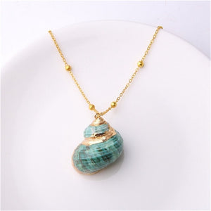 Shell Pendant Necklace Green - RubyVanilla
