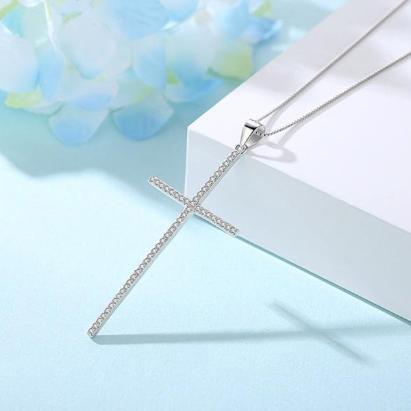 Sterling Silver Cross Necklace - CZ Crystals - RubyVanilla