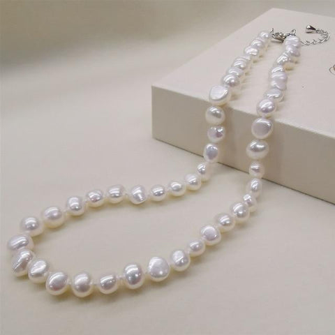 Natural Freshwater Pearl Necklace with Sterling silver plated in 14k white gold clasp - RubyVanilla