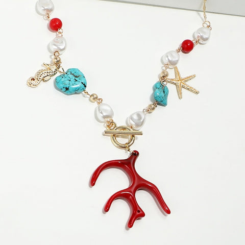 Red Coral, Pearl, and Turquoises Charm Necklace - RubyVanilla