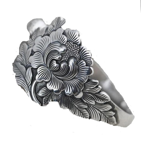 Sterling Silver Peony Flower Bangle - RubyVanilla