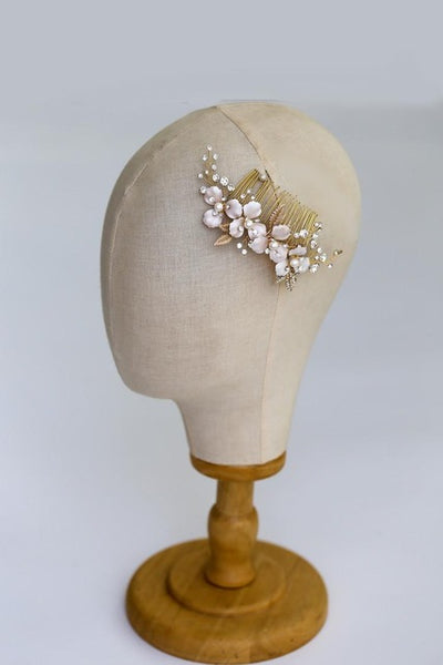 Pearl and Rhinestone Enamel Flower Hair Accessories - RubyVanilla