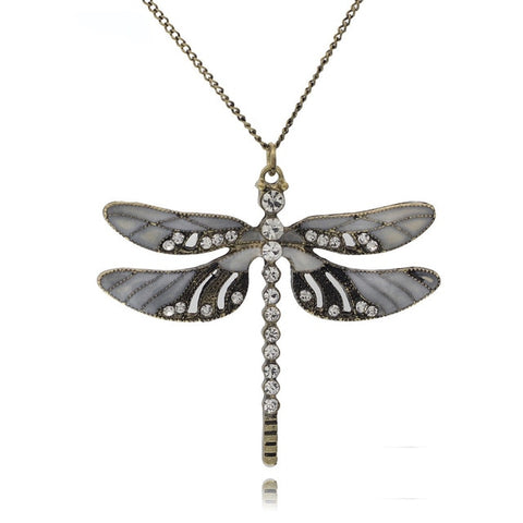 Elsa Dragonfly Pendant on long necklace - RubyVanilla