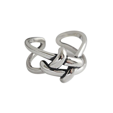 Adjustable Weaving Knot Sterling Silver Ring - RubyVanilla