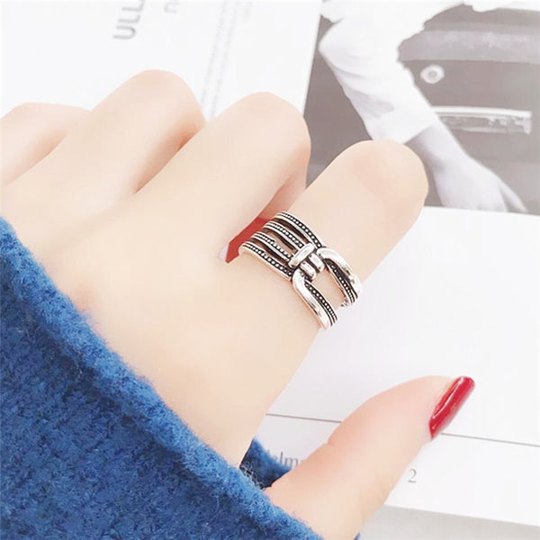 Adjustable Multi-Layer Sterling Silver Ring - RubyVanilla