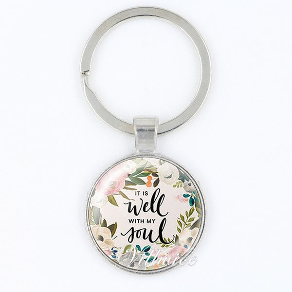 """It is Well With My Soul"" Floral Key Chain - RubyVanilla"