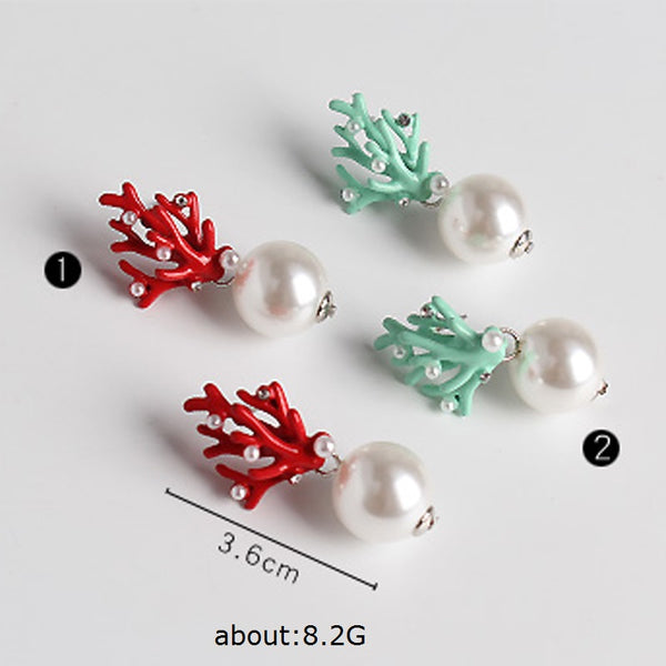 Green Faux Coral with Pearl Stud Earrings - RubyVanilla